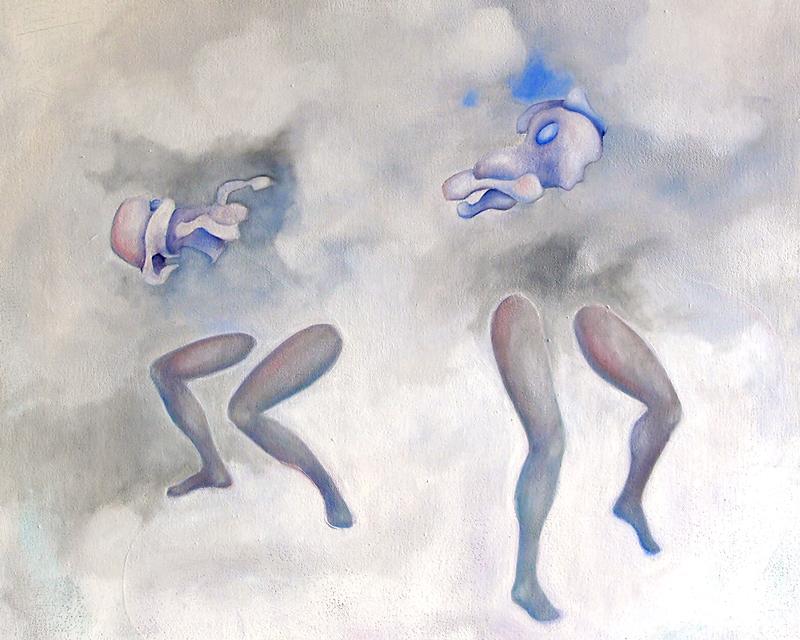 Zwischen Portraits und Figurenbildern gibt es natürlich allerhand Überschneidungen. Das kann schon mal verwirrend sein. In diesen Bildern geht es um die Beziehungen der Figuren, untereinander und zu ihrer Umgebung. Nicht immer ist klar, ob sie nun tanzen oder kämpfen ...